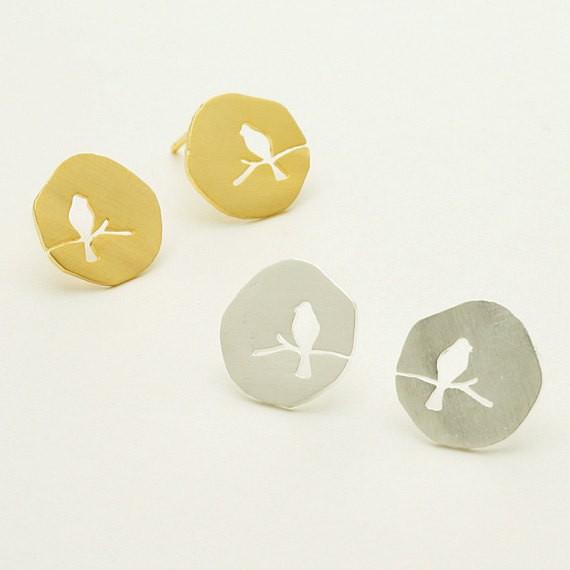 bird on a branch earrings gold silver